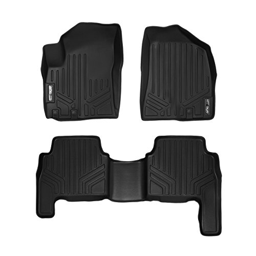 SMARTLINER Floor Mats 2 Row Liner Set Black for 2011-2013 Kia Sorento