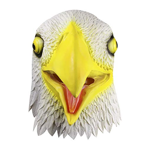 American Bald Eagle Mask Latex Rubber Hawk Helmet Full Head Animal Eagle Hood Cosplay Party Mask White Yellow