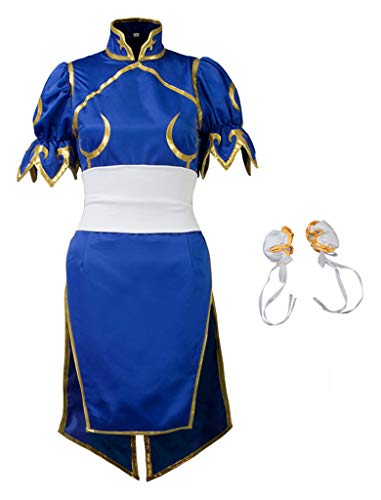 Cosfun Top Street Fighter Chun Li Cosplay Costume Mp000407 (Women S) Blue (Best Chun Li Cosplay)
