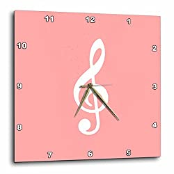 3D Rose Coral Treble Notation-G Clef Musical Note Musician Wall Clock, 15 x 15, Pink