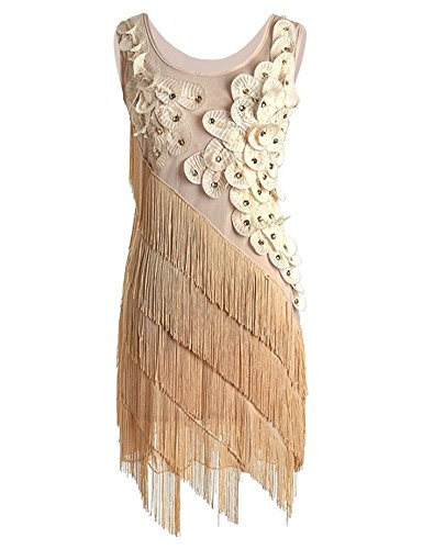 [PrettyGuide Art Deco Gatsby 1920s Flower Fringe Ornate Double Side Flapper Dress Gold X-Small /] (Gold Flapper Dress)