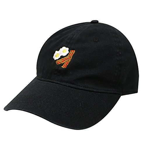 City Hunter C104 Bacon and Egg Cotton Baseball Dad Cap 13 Colors (Black) (Egg Baseball)