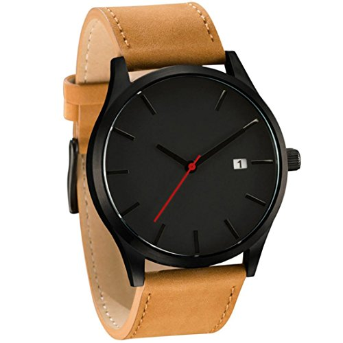 Dressin Men's Analog Quartz Watches,Classic Popular Low-Key Minimalist connotation Leather Watch,Sport and Business With Simple Design Wrist Watch (Black-2)