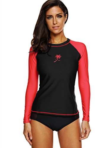 Attraco rashguard for women long sleeve rash guard athletic top uv shirt,Black/Red, small ()