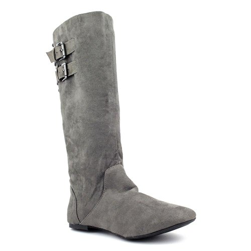 Belted Bonita Girl Casual Suede Boots Faux Grey Womens Material XABqwHn