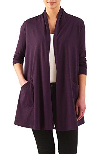eShakti Women's Cotton knit open front cardigan 6X-36W Tall
