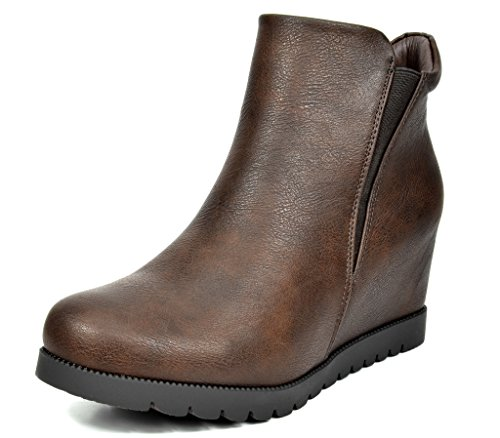 Platform Boot Shaft - DREAM PAIRS FAY Women's Fashion Casual Stretchy Zipperless Pull On Suede Low Ankle Wedge Boots BROWN PU SIZE 8