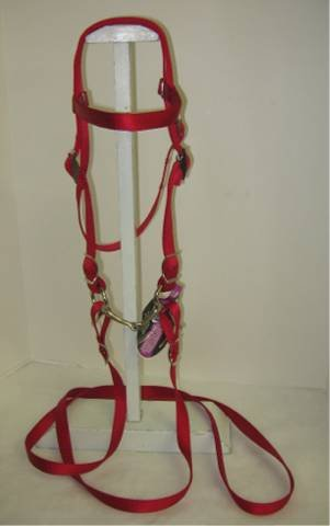 MINIATURE HORSE / SMALL PONY NYLON COMPLETE BRIDLE WITH BIT - Complete Bridle