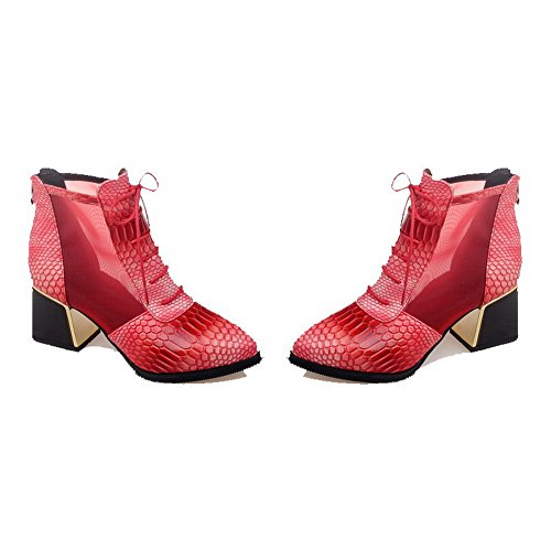Allhqfashion Women's PU Low-top Solid Zipper Kitten-Heels Boots Red aIotD0H