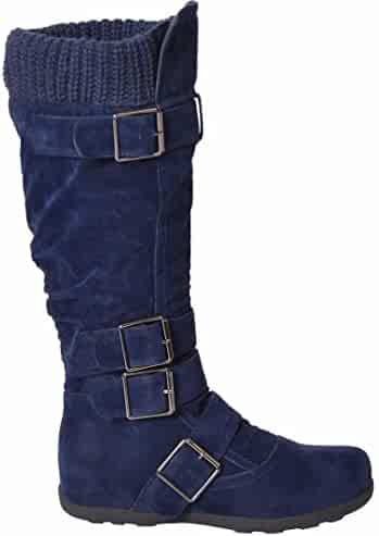 e35a96104eea Generation Y Women s Knee High Mid Calf Boots Ruched Suede Knitted Calf  Buckles Rubber Sole GY