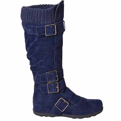 Womens Mid Calf Knee High Boots Ruched Suede Knitted Calf Buckles Rubber Sole Blue SZ 6 (Boots Sole Rubber)