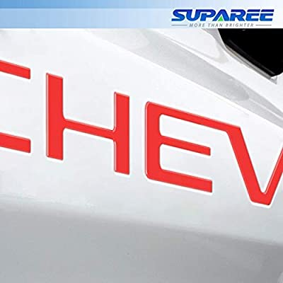 SUPAREE 2020 2020 Silverado Tailgate Letters Insert 3D Raised High Grade ABS Plastic Badge Nameplates Sticker - Red: Automotive