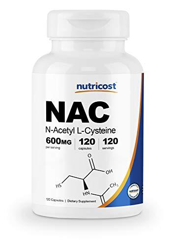 : Nutricost N-Acetyl L-Cysteine (NAC) 600mg, 120 Veggie Capsules - Non-GMO, Gluten Free, Vegetable Caps