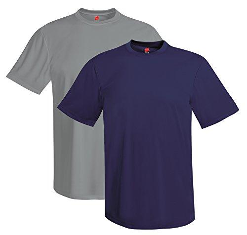 Hanes mens 4 oz. Cool Dri T-Shirt(4820)-Graphite/Navy-2XL