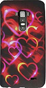 PiGGyB Case for LG G Flex Colorful Hearts Pattern Black Rubberized Hard