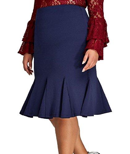 FreelyWomen Solid Plus Size Ruffled High Rise Short Skirts Underskirts Dark Blue 2XL