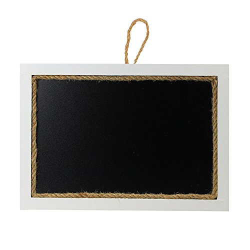 SUPERIORFE Hanging Rustic Vintage Chalkboard Sign, White Erasable Wood Frame Blackboard with Decorative Jute Rope 9.4