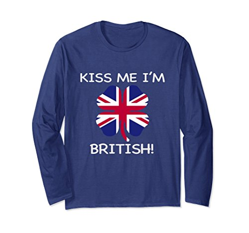British Flag Colors (Unisex British Flag T Shirt Irish St Patricks Day Party Apparel Men 2XL Navy)
