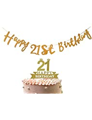 """Alemon 2 in 1 Kit - 21st Cake Topper & """"Happy 21st Birthday"""" Banner Party Supplies Decoration"""