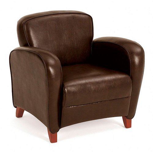 Mocha Eco Leather Club Chair with Cherry Finish Legs -