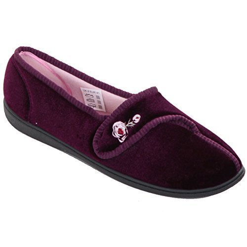 FANTASIA BOUTIQUE ® Ladies Low Wedge Soft Cushioned Strap Rose Embroidered Comfy Luxury Slippers Heather l4zHj68Jim