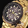 Luxury Mens Black Dial Gold Stainless Steel Date Quartz Analog Sport Wrist Watch, Fashion Lovely And High Quality Sports Watch! by Carco Store