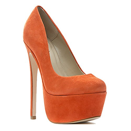 Zigi Girl - Zigi Girl SPYGLASS Womens Suede Leather Platform Pumps in ORANGE SUEDE (8, Orange)