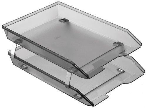 Acrimet Facility 2 Tier Letter Tray Front Load Plastic Desktop File Organizer (Smoke Color)