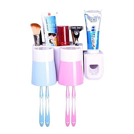 Creative pared ventosa cepillo de dientes Rack taza pasta de dientes automático dientes: Amazon.es: Hogar