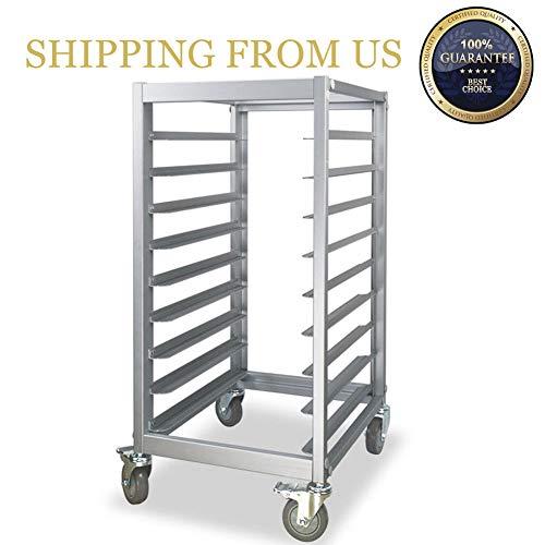 Mobile Pan Bun Rack - SHANGPEIXUAN Bun Pan Rack,Commercial Kitchen Mobile 9 Sheet Pan Rack with Wheel,Aluminum …