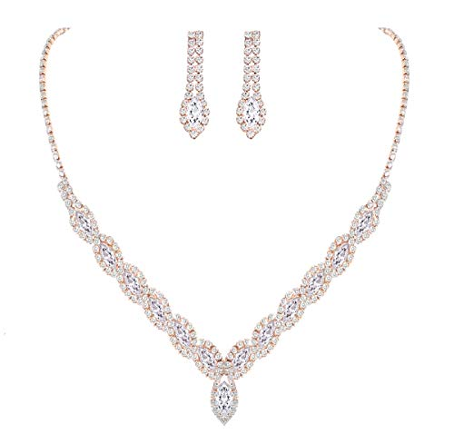 YSOUL Sparkling CZ Rhinestone Necklace Earrings Jewelry Set for Bridal Bridesmaid Wedding Evening Party Prom (Light Rose Gold)