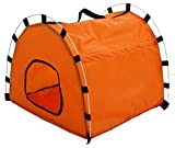 Pet Life Skeletal Outdoor' Travel Camping Wire-Folding Collapsible Pet Dog Crate House Tent w/Travel Bag, One Size, Orange