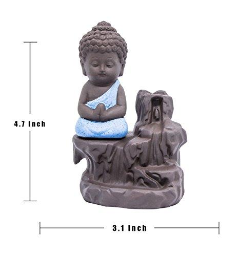Incense Burner Backflow Tower Cones Sticks Holder Ceramic Porcelain Buddha Monk Ash Catcher- Blue