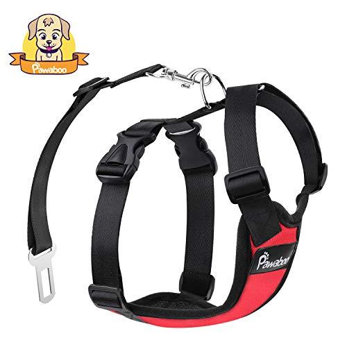 Dog Travel Harness (PAWABOO Dog Safety Vest Harness, Pet Dog Adjustable Car Safety Mesh Harness Travel Strap Vest with Car Seat Belt Lead Clip, Suitable for 11 lb-33 lb Dogs, RED)