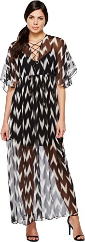 Boho-Chic Vacation & Fall Looks - Standard & Plus Size Styless - Rachel Zoe Women's Caroll Gown, Black/White, Small