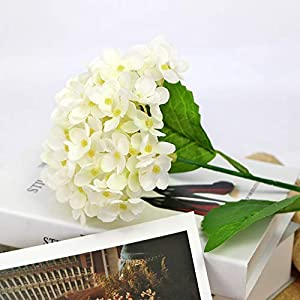 123 TEST 4PCS Artificial Flowers Plastic Silk Artificial Fake Hydrangea Flowers Silk Bouquet for Wedding, Room,Home, Hotel,Party,Office, Garden Craft Art Decoration (White) 3