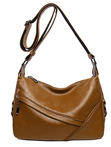 Women's Retro Sling Shoulder Bag from Covelin, Leather Crossbody Tote Handbag Brown