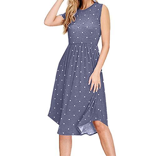 Cewtolkar Women's Loose Swing Dress Sleeveless Round-Neck Mini Short Dress Summer Casual Pocket Party Elegante Dre Blue ()