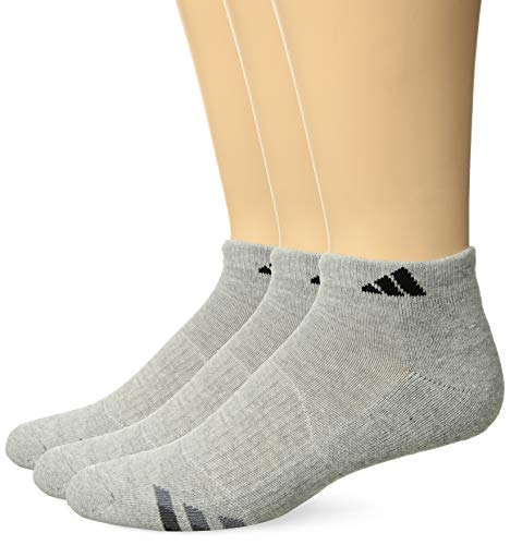 adidas Mens Cushioned Low Cut Socks (3-Pack), Heathered Light Onix/Black/Granite/Tech Grey, Large: fits shoe size 6-12