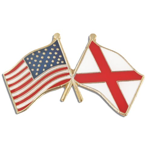 PinMart Alabama and USA Crossed Friendship Flag Enamel Lapel Pin