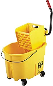 Rubbermaid Commercial Wavebrake Mopping System Bucket and Side-Press Wringer Combo, 35-quart, Yellow (FG758088