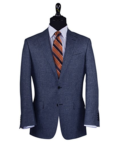 Wilkes & Riley Blue Houndstooth Check Linen & Wool Sports - Sport Coat Italy Linen