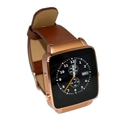 TopePop Bluetooth Smart Wrist Watch Support SIM Tf Card Phone Call Pedometer Music for Android Smart Phones (gold)