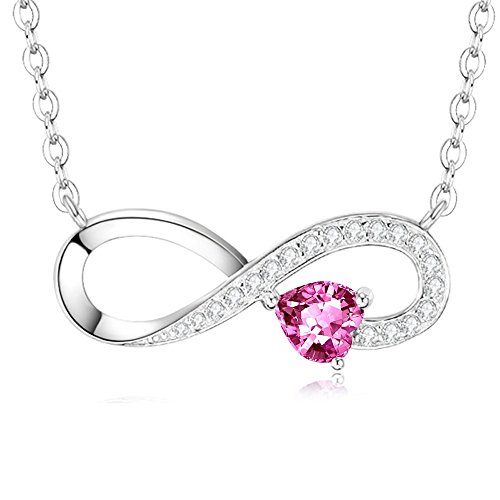 Heart Pink Tourmaline Pendant Infinity Necklace Anniversary Christmas Gifts for Her Engraved