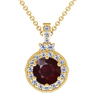 14K Yellow Gold Round Cut Ruby And Round Diamond Pendant (GIA Certificate)