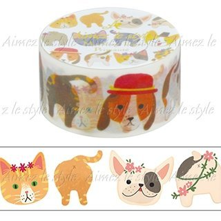 Aimez le Style Cats and Dogs Design 28mm width Washi Paper Masking Tape