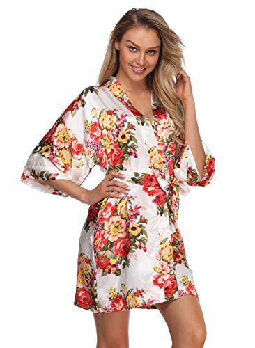 Women Short Floral Kimono Robe Bridal Dressing Gown Both Robe for Wedding Pary -