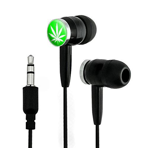 Marijuana Pot Weed Leaf Green Novelty In-Ear Earbud Headphones - ()