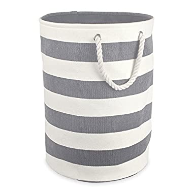 DII Woven Paper Textured Laundry Hamper or Basket, Collapsible & Convenient For Bedroom, Nursery, Dorm, or Closet - Large Round, Gray Stripe