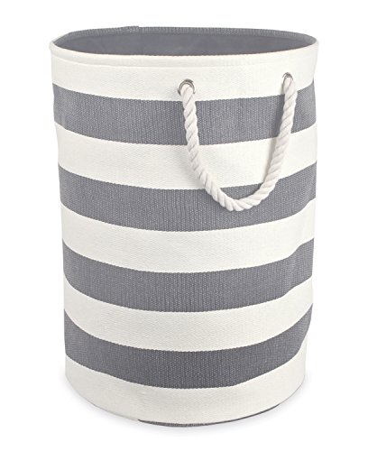 DII Woven Paper Basket or Bin, Collapsible & Convenient Home Organization Solution for Bedroom, Bathroom, Dorm or Laundry (Large Round - 15x20